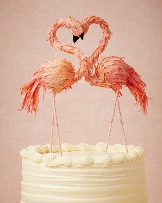 Ann Wood Flaming Flamingo Cake Topper from BHLDN