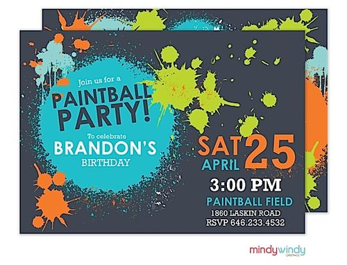 Paintball Party Invitation | Zurianas Elegant Occasions