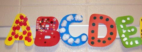 cut out letters and have them decorate them with materials that start with that letter...C...Cotton Balls..cute for kid made decorations in room!