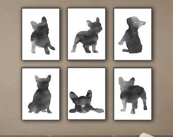 Blue Frenchie Set of 6 Nursery Art Print Watercolor by Silhouetown