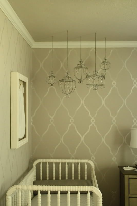Love the pendants and the framed onesieBaby Room Wallpapers, Wall Pattern, Sweets Baby, Stencils Wall, Hanging Lanterns, Wall Stencils, Pottery Barns, Wall Design, Babies Rooms