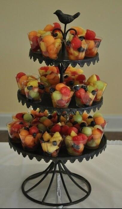 Fruit in a cup. Cupcake shelf.