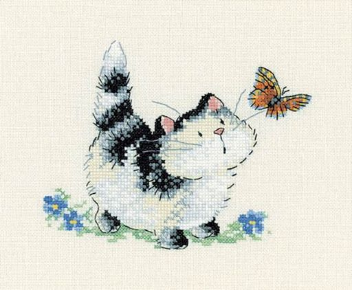 Purr-plexed cross stitch pattern