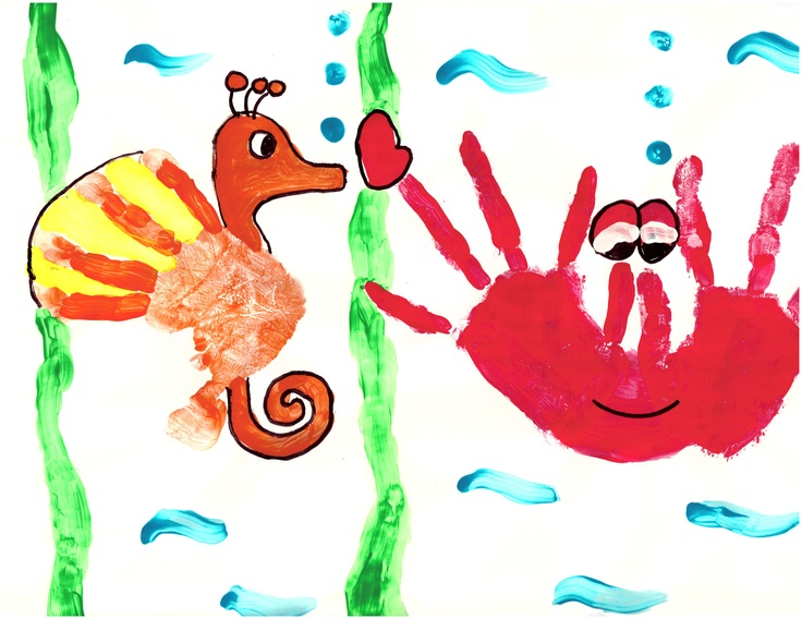 Handprint crab of 5 yr old girl. handprint seahorse of 2 yr old boy. Stick all ocean prints together for giant sea picture.