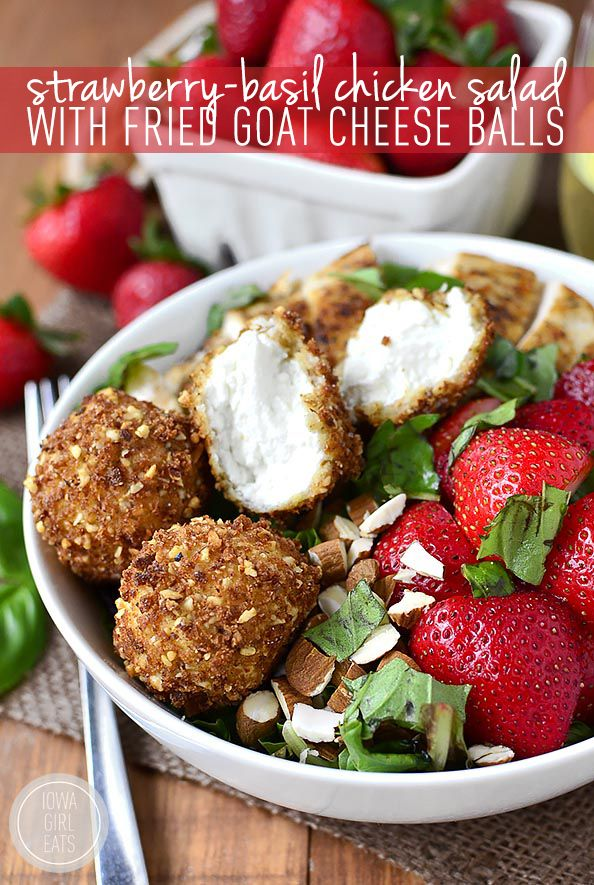Strawberry-Basil Chicken Salad with Fried Goat Cheese Balls is a fresh and flavor-packed dish – crunchy, creamy, sweet, and savory! | iowagirleats.com