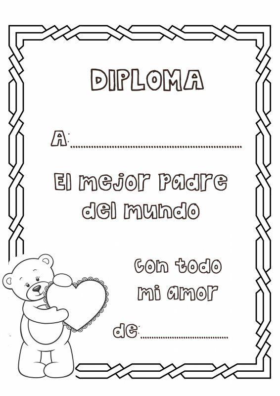 Dibujos para colorear. Diploma al mejor padre del mundo ...