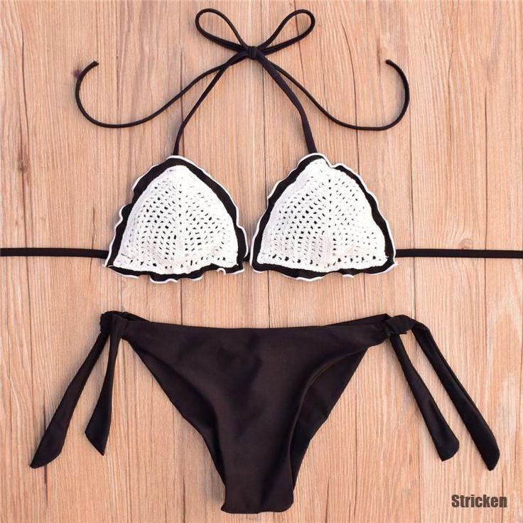 Stricken Heißer verkauf häkeln bikini sexy bademode frauen halfter stricken ba…
