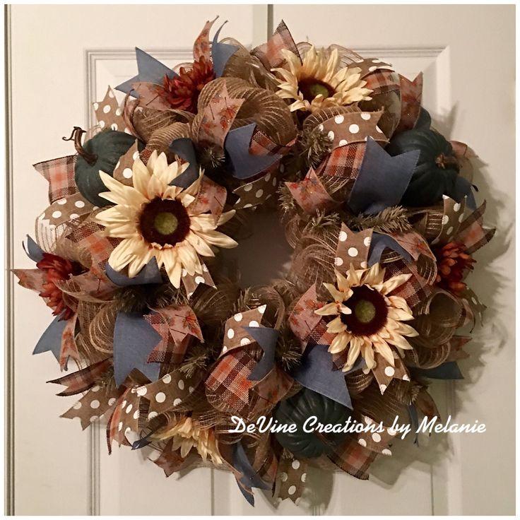 A personal favorite from my Etsy shop https://www.etsy.com/listing/565814343/fall-burlap-wreath-blue-fall-wreath-fall