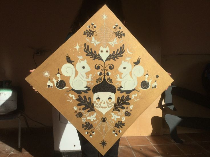 Acorn Mandala. Acrylic paint on wood. Colors: Gold, black and parchment.  Design by Fio Zenjim 2015.