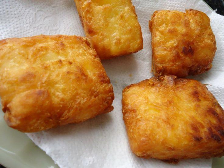 Mandioca frita cremosa.