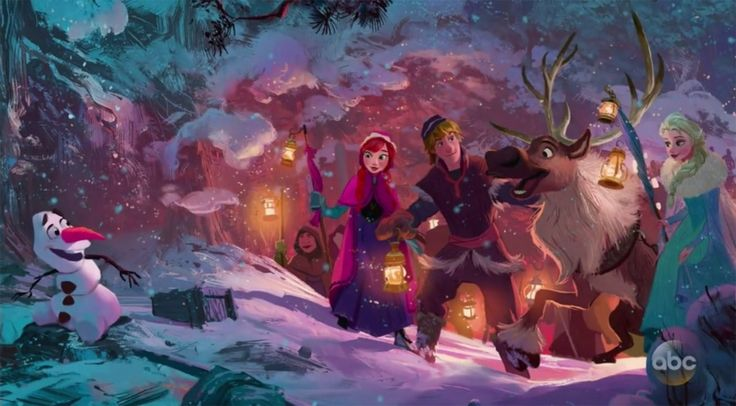 Concept art of Olaf's Frozen Adventure. A new holiday short premiering during the holidays of 2017.