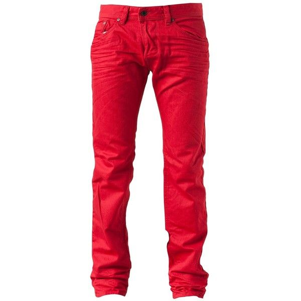 DIESEL 'Darron' jean (730 BRL) ❤ liked on Polyvore featuring men's fashion, men's clothing, men's jeans, mens red jeans and diesel mens jeans