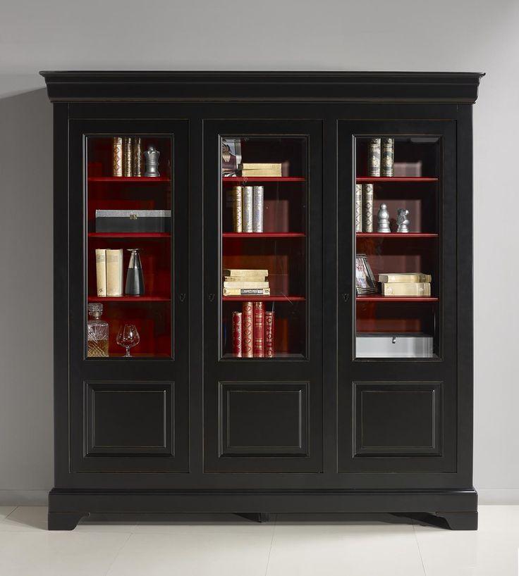Bibliothèque 3 portes Flore réalisée en Merisier Massif de style Louis Philippe Patiné Noir et Rouge