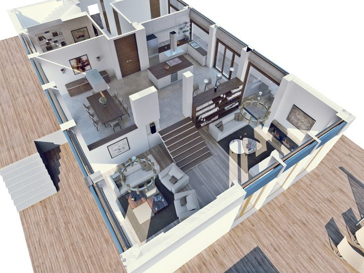 Планировка первого этажа максимально открытая - просторная кухня-столовая и гостиная на уровень ниже, разделённая на 2 зоны - зона общения и просмотра ТВ и зона отдыха и чтения. На первом этаже расположены также кабинет и комната для гостей с отдельным санузлом.