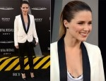 Sophia Bush opted for a more boyish look for the 'Total Recall' LA premiere  The actress looked sensational wearing an IRO ivory blazer with black lapels and zipper pocket details which she paired with slick black leather leggings and a slouchy white tee with a black lace lining.  Simple yet effective accessories included a black Chanel clutch, onyx earrings and Christian Louboutin 'Pigalle' pumps.  Smoky eyes, a rouge lip colour and a neat ponytail completed her look.