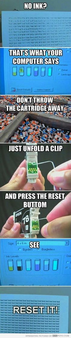 Life hack: Printer ink reset. Really hope this works, the ink for my printer has…