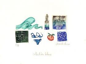 Collection bleue, gravure à l'eau forte