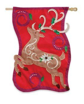 Traditional Reindeer Applique House Flag by Evergreen. $24.99. Raised 3D embroidery. Hand-crafted. Made of high quality fabric materials. Fade-resistant colors. Flags are the greeting card of your home! Add a piece of colorful and welcoming décor to your outdoor setting with one of these flags. Made of durable materials, the vibrant colors in this flag will last for years to come.. Save 29%!
