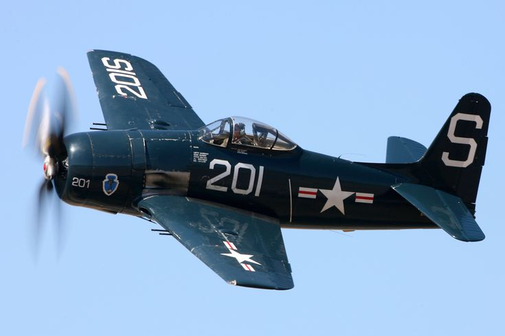 """Grumman F8F Bearcat - The Grumman F8F Bearcat (affectionately called """"Bear"""") was an American single-engine naval fighter aircraft of the 1940s. It went on to serve into the mid-20th century in the United States Navy, the United States Marine Corps, and the air forces of other nations. It would be Grumman Aircraft's final piston engined fighter aircraft. Modified versions have broken speed records for propeller-driven aircraft, and are popular among warbird owners."""