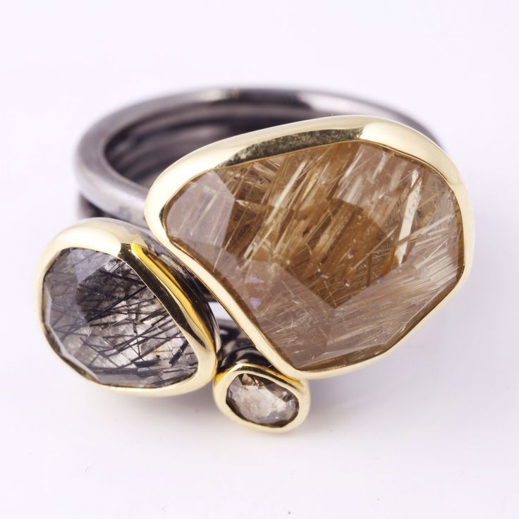 Margoni sterling and gold rutilated quartz