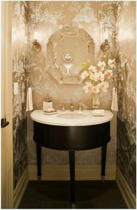 Bathroom wallpaper lavabo pinterest for Wallpaper for small bathrooms