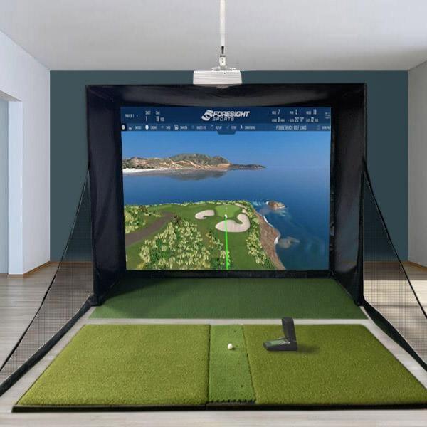 Gc2 Swingbay Golf Simulator Bundle Fsx Home Golf Simulator Golf Simulators Golf Room