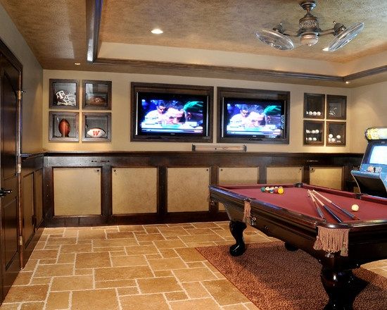 Not a fan of this room but built in spaces with glass fronts? Maybe something similar. Spaces Basement Game Room Design, Pictures, Remodel, Decor and Ideas - page 6