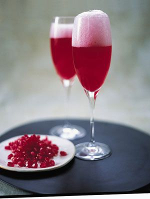 You can use good Prosecco (Italian sparkling wine) rather than Champagne for this recipe, and quite honestly, you'd never know the difference. Also, you get great results from puréed peaches or even strawberries instead of pomegranates, but I always think it's best to stick to what's in season.