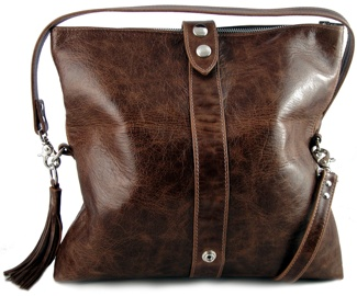 Rustic brown fold-over 'Cass' bag - Open. (S/S 2011)