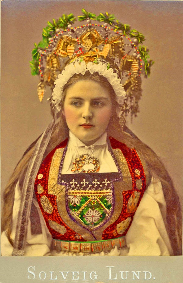 Norwegian bride approximately 1900... I just thought this was cool. If you want a true boho wedding, find out what your ancestors wore - like this Norwegian folk style wedding dress