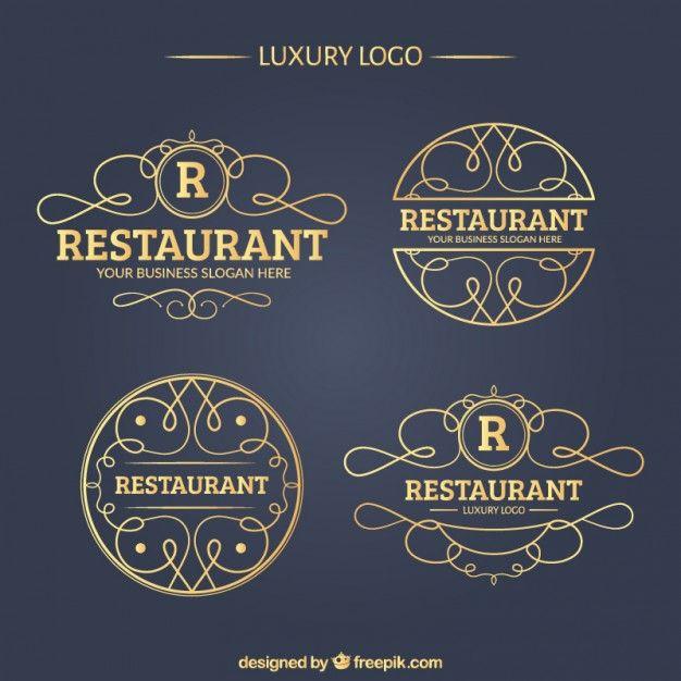 Restaurant de luxe Logo Collection Vecteur gratuit