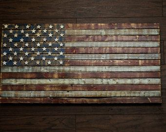 Distressed Rustic Wooden American Flag by WoodenHeritage on Etsy