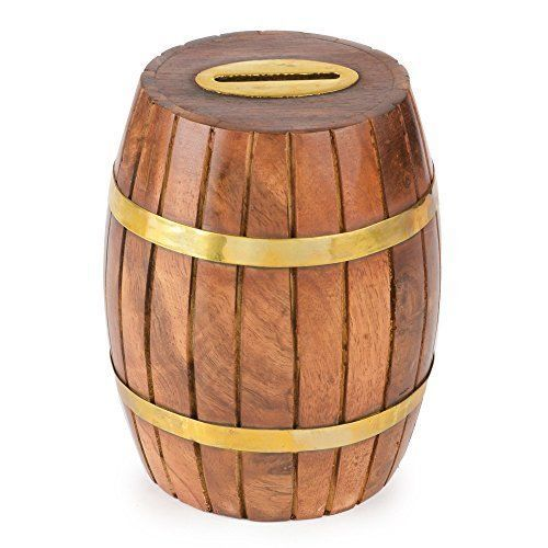 Money Banks Rusticity Wood Piggy Bank for Kids and Adults - Barrel Design | | #Rusticity