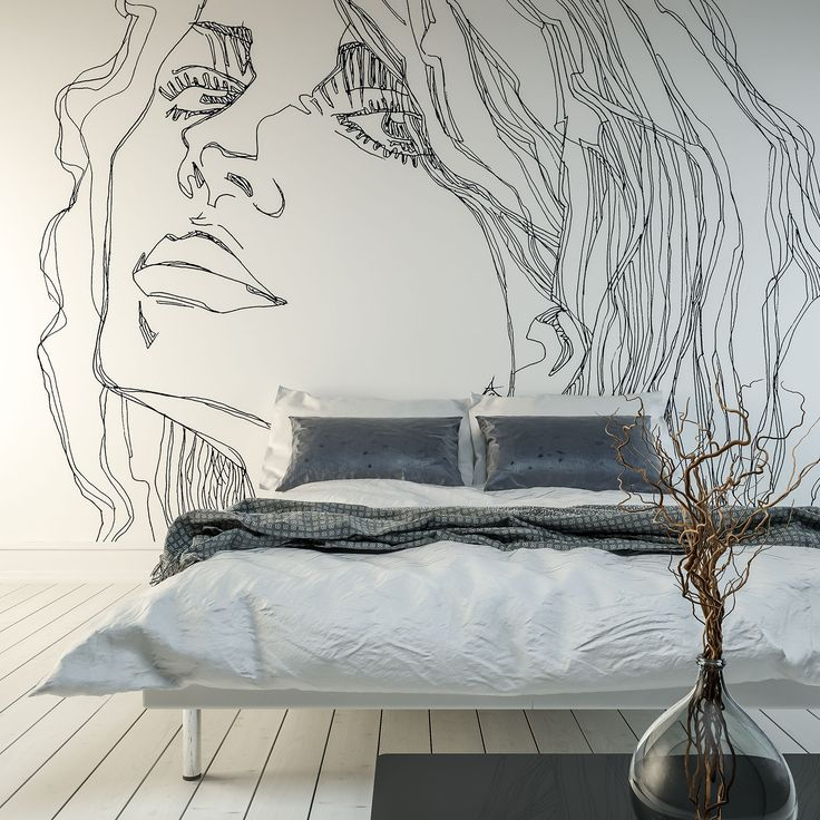 """Charming portrait of a woman by Marco Fontana.  """"Ri-Tratto"""" wallpaper will blow your mind.   #wallpaper #draw #bedroom"""