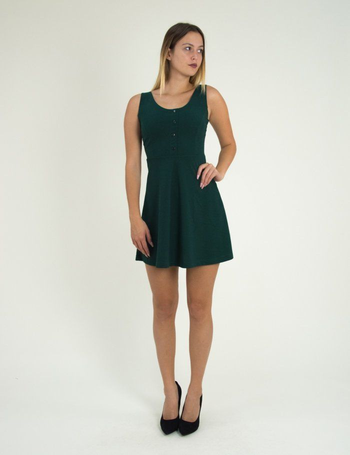 967b4c0c177 Γυναικείο κυπαρισσί κλος φόρεμα με κουμπιά Benissimo 91727 #τορούχο  #torouxo #foremata #φορέματα