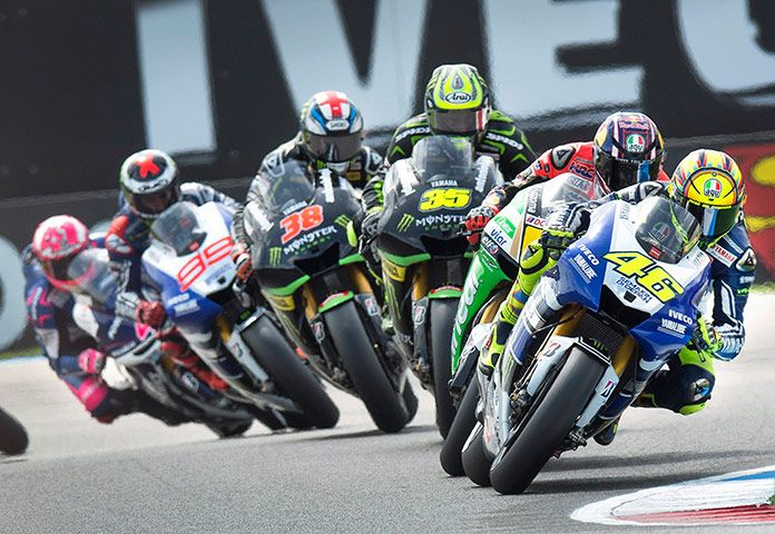 Valentino Rossi of Italy takes a curve on his way to winning the Dutch MotoGP in Assen.