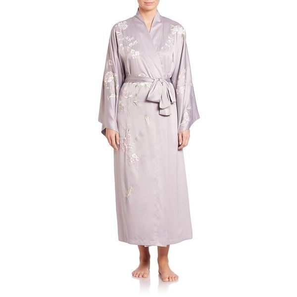 Natori Floral-Embroidered Robe ($110) ❤ liked on Polyvore featuring intimates, robes, apparel & accessories, purple, embroidered bath robe, tie belt, dressing gown, purple robe and purple bath robe