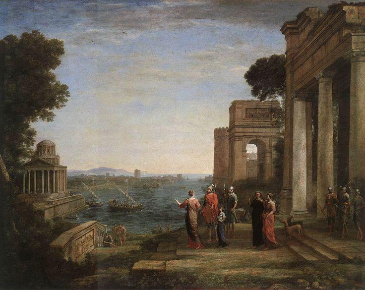 """Claude Gellée, dit """"Le Lorrain"""", Vue de Carthage avec Énée et Didon, 1676. La reine, le héros et leur suite partant pour la chasse - au-delà de la baie, le temple de Junon. Huile sur toile, 120 x 149,2 cm."""