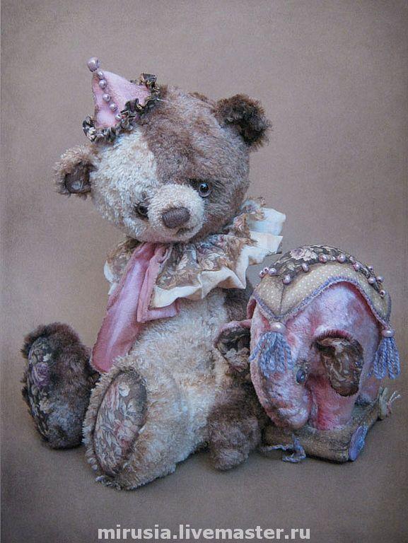 Купить Ив. - мишки тедди, авторская игрушка, мишка, слоник, шёлковый мохер, хлопок, синтепух