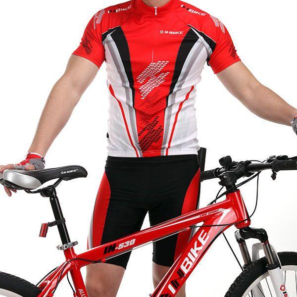 Culotte y Maillot Rojo Ciclista Mangas Cortas Poliester Ropa Ciclismo