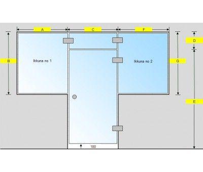 Saunan lasiseinä, ovi, lisäpala ja kaksi ikkunaa