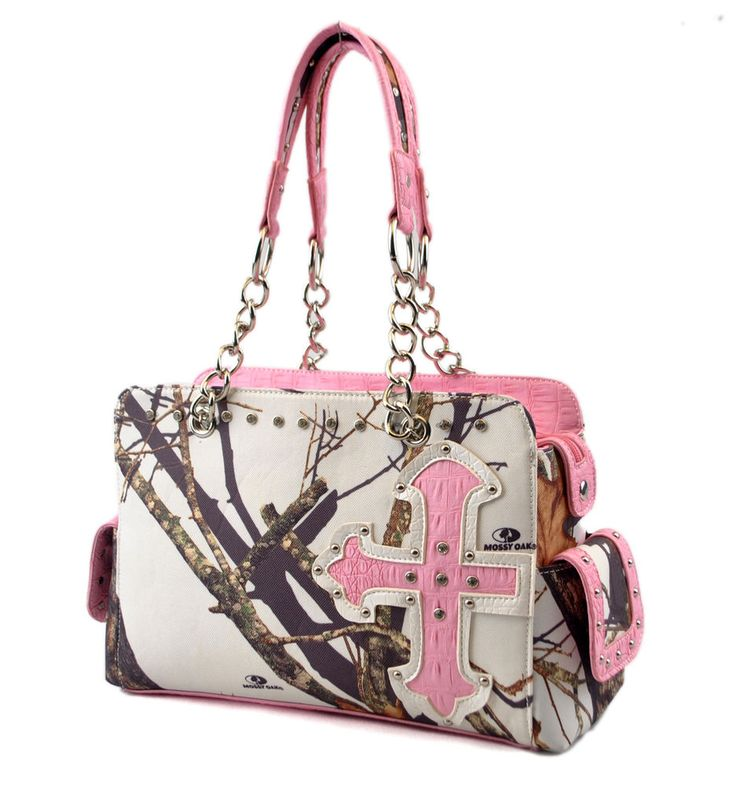 MOSSY OAK CONCEALED WEAPON CARRY GUN SNOW WHITE CAMO WESTERN PURSE PINK CROSS #NA #ShoulderBag