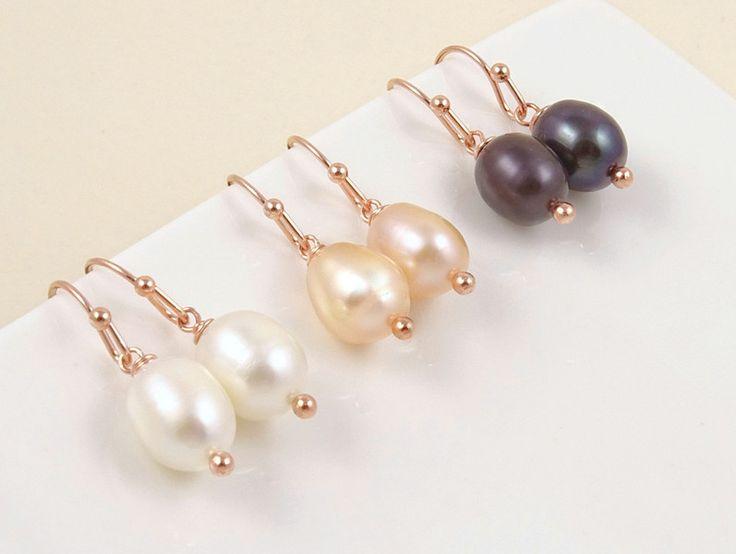 Pearl Earrings – Simple Freshwater Pearl Drop Earrings – a unique product by Crystalshadow on DaWanda