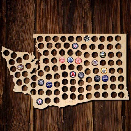 Washington Beer Cap Map - tap to personalize and get yours