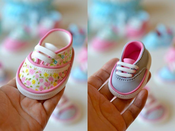 {2 super cute gum paste Baby Tennis Shoes by Deborah Hwang Cakes}