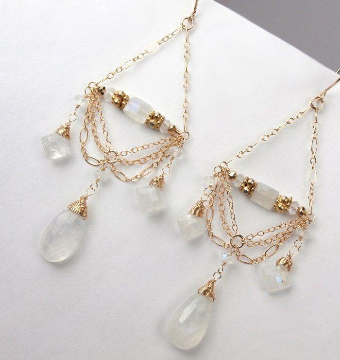 Moonstone Chandelier Earrings 14kt Gold Filled Chain Chandelier Earrings Wire Wrapped Moonstone Luxury Fashion Wedding Earrings. $155.00, via Etsy.
