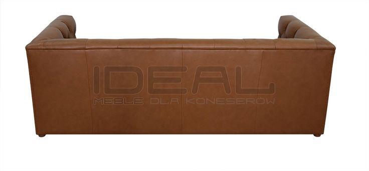 Sofy Stylowe - Sofa Chesterfield London Z Pojemnikiem W Skórze - Ideal Meble (brązowy, brown) -tył sofy