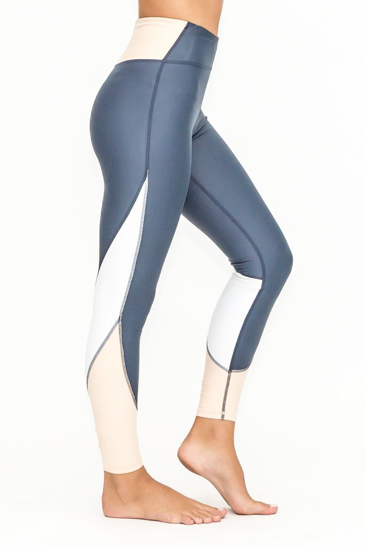 Vie Active - Taryn 7/8 Navy Tights - Navy/White/White