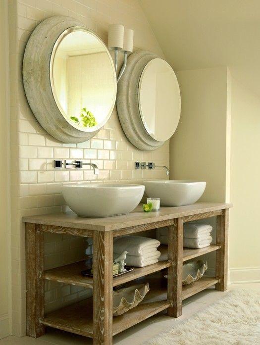 Stunning bathroom with salvaged wood double bathroom vanity, twin