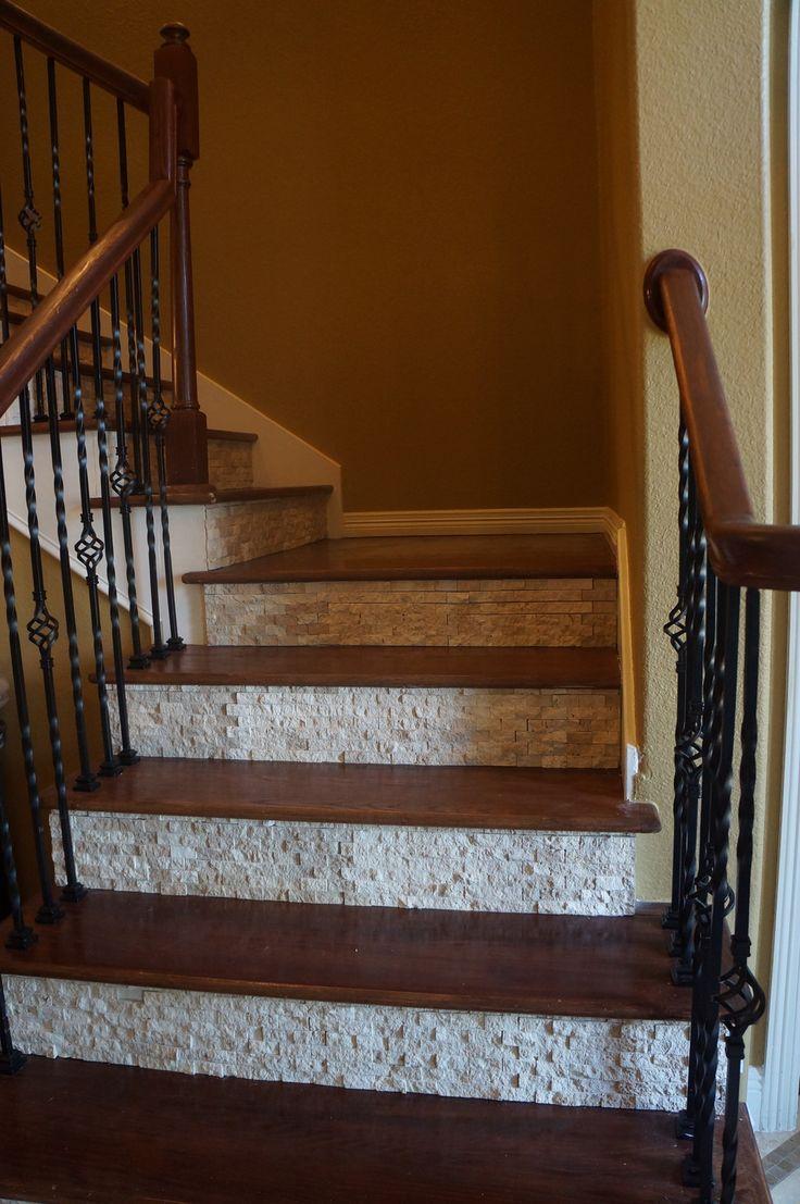 splitface tile on stair risers